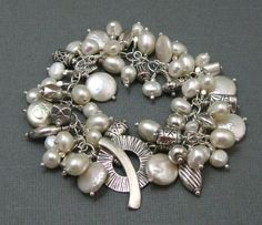 Pearl and Sterling Silver Charm Bracelet by stoneandsterling, $155.00