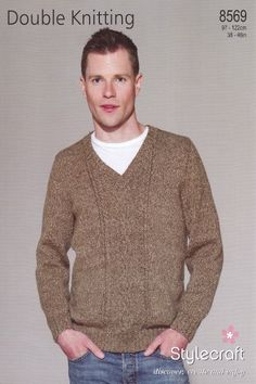 This Stylecraft double knitting pattern is for creating a men's long sleeved, V neck sweater. Description from ebay.co.uk. I searched for this on bing.com/images