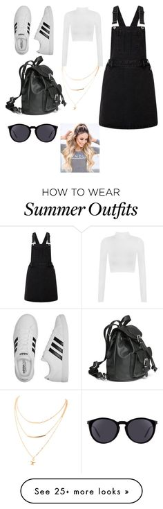 """Cute summer pinafore outfit"" by chloe-jenkinson on Polyvore featuring Lipsy, Yves Saint Laurent, adidas, WearAll, 5sos, pinafores and 60secondstyle"