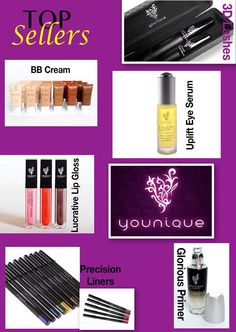 Take a look at some of our top selling products. Try them and see why everyone's talking about Younique! BB Cream, Uplift Eye Serum, Lucrative Lip Gloss, Precision Eye Pencils, Glorious Face Primer, Moodstruck 3D Fiber Mascara