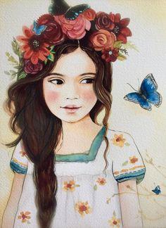 Rosas y mariposa negra en el pelo... por claudiatremblay en Etsy