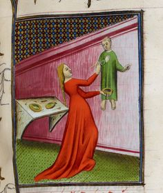 Irene, daughter of Cratinus, painting a fresco. From Boccaccio, Des cleres et nobles femmes, De claris mulieribus in an anonymous French translation c. 1400-25, French (Paris). British Library MS Royal 20 C V  f. 96