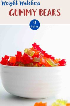 Looking for zero point candy? Then try these easy to make sugar free gummy bears. Just 3 ingredients and zero smartpoints on Weight Watchers Blue, Purple and Green plans. A tasty WW dessert recipe. #weightwatcherssnacks #weightwatchersrecipeswithpoints #zerosmartpoints #wwsnackrecipes Weight Watcher Cookies, Weight Watchers Free, Weight Watchers Chicken, Weight Watchers Desserts, Sugar Free Gummy Bears, Sugar Free Candy, Lunch Recipes, Diet Recipes, Chicken Recipes