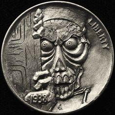 ALEX OSTROGRADSKY HOBO NICKEL - ACHMED THE DEAD TERRORIST - 1938 BUFFALO NICKEL Antique Coins, Old Coins, Jeff Dunham, Hobo Nickel, Coin Art, Metal Clay Jewelry, Silver Coins, Disney Art, Art Forms