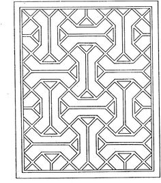 Geometric Shapes Cartoon Coloring Page - Stencil Pattern for Top/Sides of Accent Dresser.
