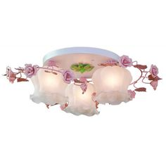 OOVOV Flowers Princess Room Ceiling Light Pastoral Iron Girl's Room Ceiling Lamp Bedroom Study Room Ceiling Lights Fixtures