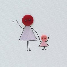 Personalised 'Button Mummy' Handmade Card