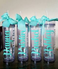 20 Ideas For Bridal Shop Decor Bridesmaid Gifts Gifts For Wedding Party, Party Gifts, Wedding Ideas, Wedding Stuff, Wedding Planning, Personalized Tumblers, Custom Tumblers, Bridesmaid Favors, Bridesmaids