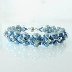 Swarovski Crystal & Blue Pearl Beadweaved Bracelet, Swarovski Bracelet, Women's beaded Bracelet, Pearl Bracelet, Gift for Her, blue bracelet