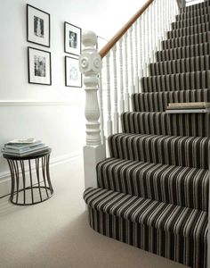 Striped carpets might not be the best choice for every room in the house. However, one place where striped carpets really look their best is on any staircase. Best Carpet For Stairs, Striped Carpet Stairs, Striped Carpets, Carpet Staircase, Hall Carpet, Basement Carpet, Staircase Runner, Tartan Stair Carpet, Painted Staircases