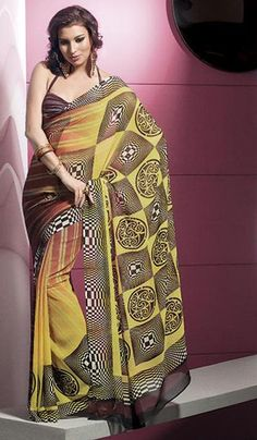 G3 Fashions Gold Rust Georgette Printed Casual Wear Saree  Product Code : G3-LS10674 Price : INR RS 1544