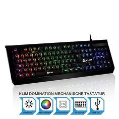 KLIM Domination DEUTSCHE Mechanische RGB QWERTZ Tastatur 2017 Blaue Tasten - Schneller, präziser, angenehmer Tastenanschlag 5 Jahre Garantie Gaming Tastatur VOLLSTÄNDIGE FREIHEIT BEI DER FARBAUSWAHL