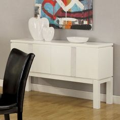 Furniture of America Lamia Server White Buffet Cabinet, White Buffet Table, Server Cabinet, Buffet Server, Lowes Home Improvements, Small Appliances, Contemporary Style, Entryway Tables, It Is Finished