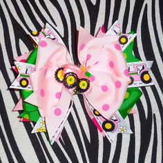 Pink John Deere Country Girl Hair Bow by MegansHairCandy on Etsy, $9.00