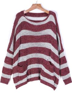 Wine Red Round Neck Long Sleeve Pockets Striped Loose Sweater 19.33