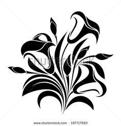 Abstract flowers. Vector black silhouette. - stock vector