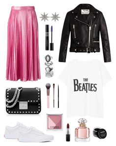 A fashion look from March 2017 featuring print t shirts, leather biker jackets and a-line skirts. Browse and shop related looks. Armani Beauty, Acne Studios, A Line Skirts, Urban Decay, The Beatles, Christian Dior, Mango, Bee, Gucci