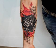 Geometric rose tattoo.