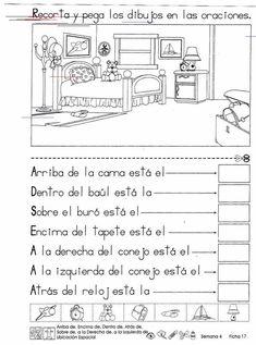 Material de aprendizaje: Ubicación espacial 2º Grado Spanish Teacher, Spanish Classroom, Teaching Spanish, Teaching Resources, Speech Language Therapy, Speech And Language, Therapy Activities, Math Activities, Spanish Activities