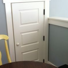 Attic door made to look like an actual door, but mini. Great wall color too