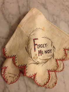 """Embroidered Handkerchief Souvenir Keepsake """"Forget Me Not"""" . Vintage Embroidery, Embroidery Patterns, Hand Embroidery, Art Textile, Vintage Handkerchiefs, Linens And Lace, Antique Lace, Vintage Textiles, Vintage Love"""