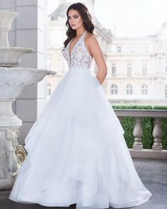 View Lavish Ball Gown Wedding Dress - Style from Paloma Blanca. Lace bodice lined in Nude Tulle with halter neckline. Wedding Dresses London, Elegant Wedding Gowns, Best Wedding Dresses, Bridal Dresses, Gown Wedding, Lace Wedding, Bridal Reflections, Princess Ball Gowns, Bridal Collection