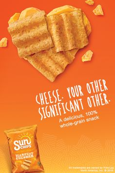 Channel cheesy goodness with SunChips® Harvest Cheddar® flavored snacks. These square, wavy snacks are 100% whole grain with flavors inspired by fresh, real ingredients. Even better - these delicious snacking beauties contain 30% less fat than regular potato chips, creating a highly favorable wholesome-to-awesome ratio!