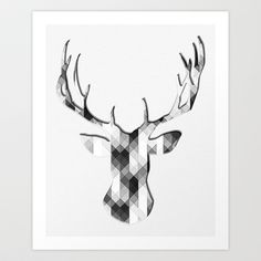 Geometric Deer Art Print by esanz - $17.00