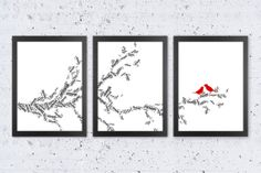 Custom Names Typography 3 piece Tree Print. Branch with 2 lovely birds.