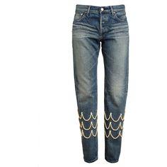 TU ES MON TRESOR Pearl Embellished Boyfriend Jeans (€365) ❤ liked on Polyvore featuring jeans, pants, bottoms, hlace, boyfriend fit jeans, blue jeans, 5 pocket jeans, boyfriend jeans and embellish jeans