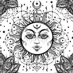 Beautiful Floral Paisley Sun Face Pattern.
