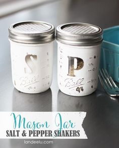 DIY Mason Jar Salt and Pepper Shakers Easy Tutorial - create them in all different colors for holidays and special occasions. These make the PERFECT thoughtful gifts.