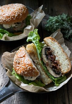 Bacon Jam Filled Portobello Burger with Provolone Cheese and Herb Mayo