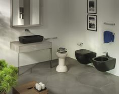 Black wall hanging toilet and bidet with black counter top stone basin - Hugo Oliver