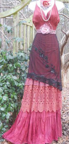 Pink maxi dress boho plum crochet cotton lace silk  tiered   bohemian rose medium  by vintage opulence on Etsy. $160.00, via Etsy.
