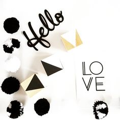 Monochrome flatlay with some of the cool things we won in the awesome @sweetlittlebeginnings giveaway :) so happy with all the prizes!! #monochrome #flatlay #pompom #blocks #hello #love #creative #nz #businesses #thankyousomuch