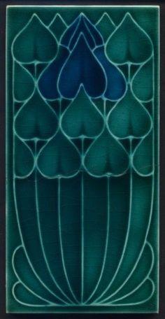 TH3074 Rare Pilkington's Blue 3x6 Art Nouveau Tile #ArtNouveau