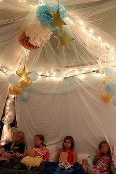 use pop up canopy tent, hang sheets on side, hang tulle/xmas tree lights/stars= perfect inside overnight glamour tent