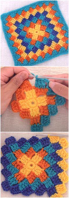 Crochet Blocks, Granny Square Crochet Pattern, Crochet Stitches Patterns, Crochet Squares, Crochet Motif, Knitting Patterns, Crochet Patterns For Blankets, Baby Granny Square Blanket, Easy Granny Square