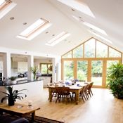 Wood doors pitched roof with velux windows