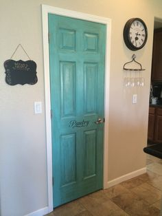 "Nailed it! Painted the pantry door! Behr ""sea life"" turquoise blue then glazed with Rustoleum cabinet glaze in brown. Rustic, vintage, distressed! LOVE! Added vinyl decal! DIY HGTV"