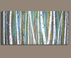 Idea for painting over fireplace - Birch Trees Painting in Greens and Blues  by SageMountainStudio, $275.00