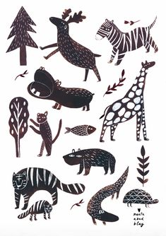 Wild Animal Illustration Print by Marta Abad Blay Animal Sketches, Animal Drawings, Art Drawings, Wild Animals Drawing, Animal Activities, Art Wall Kids, Graphic Design Illustration, Animal Paintings, Animals For Kids