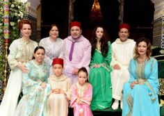 Lalla Salma, Lalla Asma, Lalla Hasna, her children Moulay El Hassan and Lalla Khadija, Oum Keltoum Eman, King Mohammed VI and prince Moulay Rachid, Lalla Meryem (R) ceremony of conclusion of the Act of marriage of prince Moulay Rachid of the Morocco, Rabat,15.06.2014