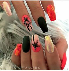 🌴🖤🍓 Neon Coral and White with Mylar Foil, Matte Black and Ombre with Palm Trees on tapered Square Nails 👌 Neon Orange Nails, Orange Acrylic Nails, Summer Acrylic Nails, Best Acrylic Nails, Glow Nails, Matte Nails, Fun Nails, Hawaii Nails, Beach Nails