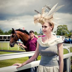 Robert Masciave's Couture Hat collection comes to Newbury. For more tips on Fashion at the Races, read http://eclipsemagazine.co.uk/fashion #headpiece #feathers #Newbury #racing #fashion