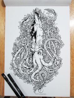 More Doodle Drawings by Kerby Rosanes #Illustration #Black and White