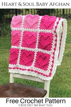 Crochet Heart Blanket, Bobble Crochet, Baby Afghan Crochet, Granny Square Crochet Pattern, Bobble Stitch, Crochet Blankets, Free Crochet, Crotchet Patterns, Afghan Crochet Patterns