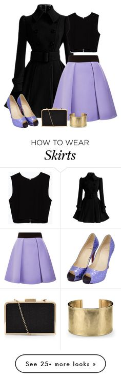 """lilac and black"" by divacrafts on Polyvore featuring mode, FAUSTO PUGLISI, Zara, Christian Louboutin, Blue Nile et Original"