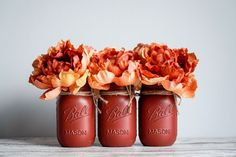 Fall Home Decor, Autumn Home, Holiday Decor, Red Mason Jars, Coffee Bottle, Etsy, Food, Essen, Meals
